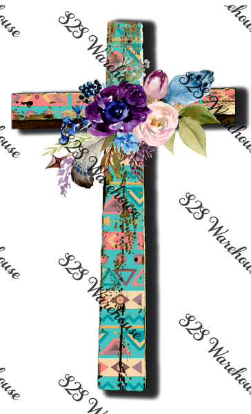 Tribal Floral Cross