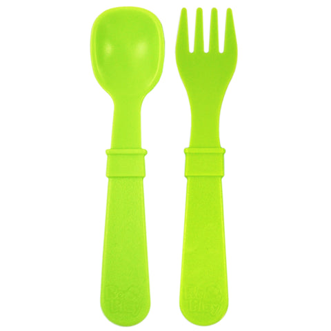 Re-Play Spoon and Fork Set - Light Green - BabyBento