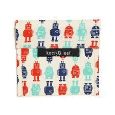 Keep Leaf Reusable Sandwich  Bag - Robot - BabyBento