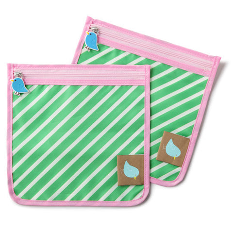 Jaq Jaq Bird Reusable Food Pouch - Green Stripe - BabyBento