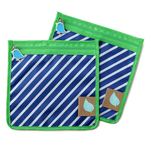 Jaq Jaq Bird Reusable Food Pouch - Blue Stripe - BabyBento