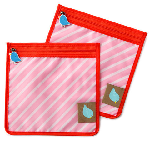Jaq Jaq Bird Reusable Food Pouch - Pink Stripe