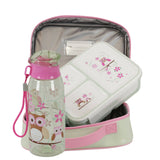 Bobbleart  Owl  School Lunch package with Lunchbag , Lunchbox and Drinkbottle
