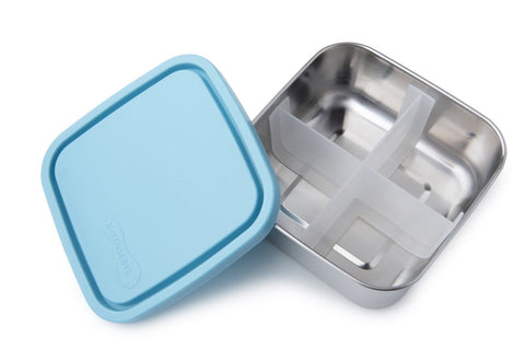 Divided To Go Stainless Steel Lunch Box - Sky - BabyBento