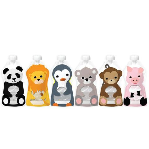 Squooshi Reusable Food Pouch - Large 6 pack - BabyBento
