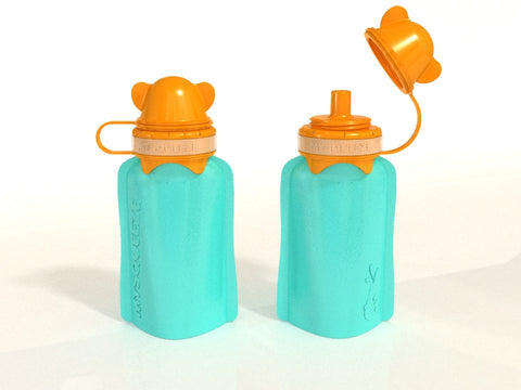 My Squeeze Reusable Silicone Pouch - Teal/Orange - BabyBento