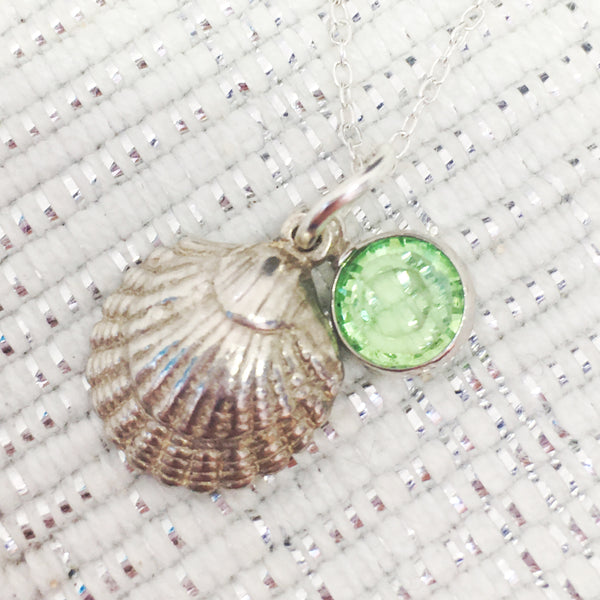 Swarovski birthstone pendant, sterling silver, Sea shell, beach, mother, birthday, Necklaces - Sparkly Pretty Things