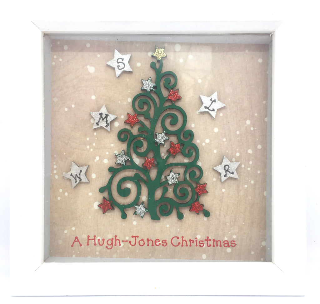Family Christmas Tree, wood, box frame, home decor, gift, Christmas, Homeware - Sparkly Pretty Things