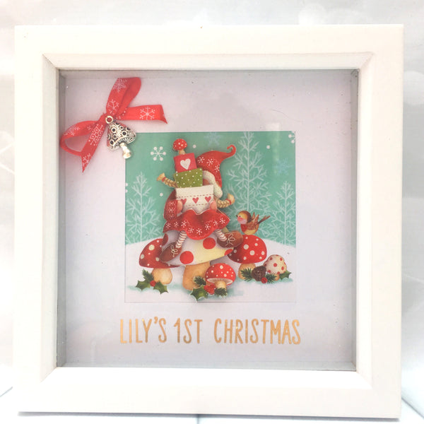 Christmas 3D collages art, gnome, elf, Santa, box frame, home decor, gift, Christmas, Homeware - Sparkly Pretty Things
