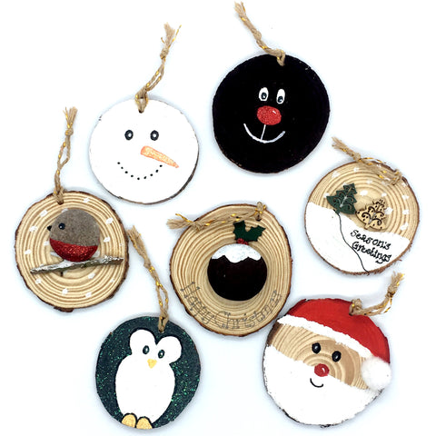 Wood slice Christmas decorations, personalised, family, handmade, art, tree