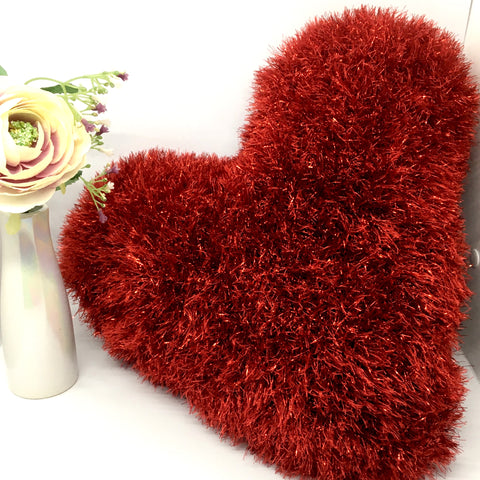 Handmade full size fluffy heart cushion, birthday, mother, Valentines, love, anniversary, Homeware - Sparkly Pretty Things