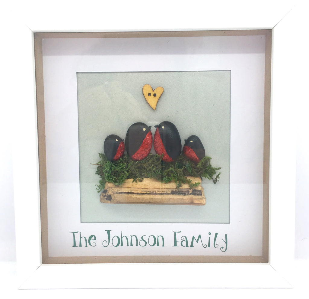 Family pebble picture, Robins, box frame, home decor, gift, Family, Christmas, mother, Homeware - Sparkly Pretty Things
