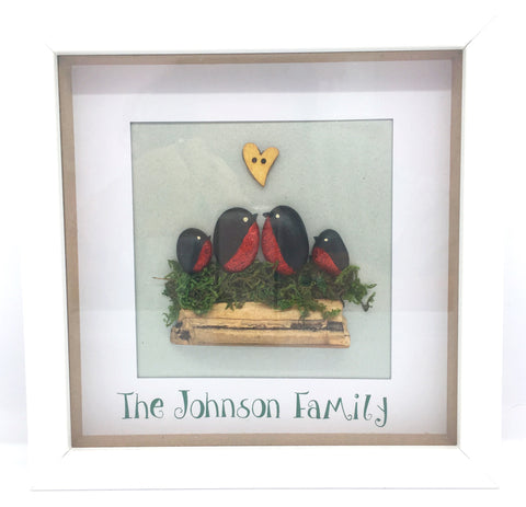 Family pebble picture, Robins, box frame, home decor, gift, Christmas, mother, Homeware - Sparkly Pretty Things