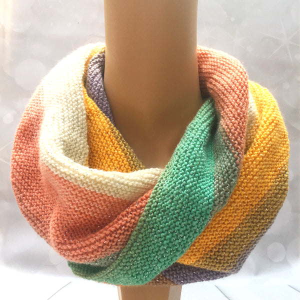 Sparkly rainbow coloured snood or twisted cowl, hand knitted, double knit, Knitted - Sparkly Pretty Things