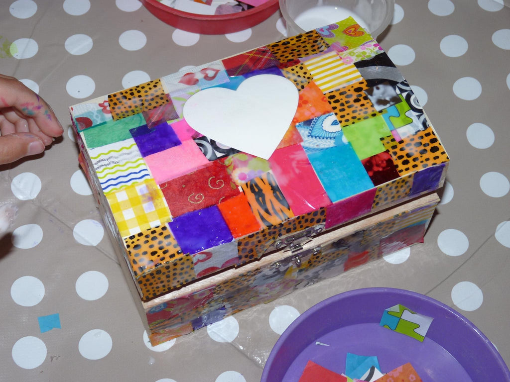 Treasure Box Kit, large, decoupage, collage, paint, kids, Other - Sparkly Pretty Things