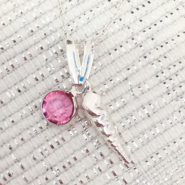 Swarovski birthstone pendant, sterling silver, sea shell, conch, beach, birthday, mother, Necklaces - Sparkly Pretty Things