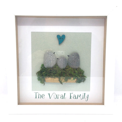 Family pebble picture, Birds, box frame, home decor, gift, Valentines, anniversary, mother