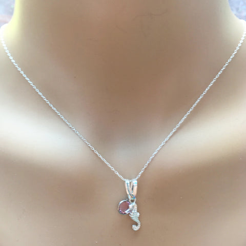 Seahorse and Swarovski birthstone pendant, sterling silver, Necklaces - Sparkly Pretty Things