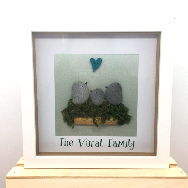 Family pebble picture, Birds, box frame, home decor, gift, Valentines, anniversary, mother, Homeware - Sparkly Pretty Things