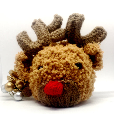 Fluffy Chocolate Orange Cover, Christmas, stocking, gift, reindeer, Rudolph, Knitted - Sparkly Pretty Things