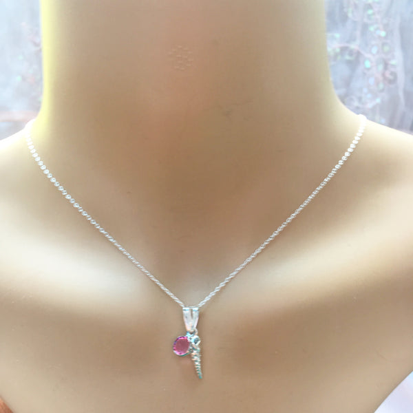 Long seashell and Swarovski birthstone pendant, sterling silver, Necklaces - Sparkly Pretty Things
