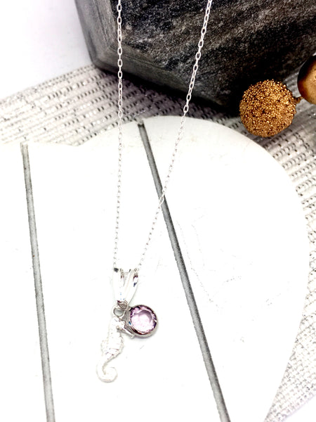 Swarovski birthstone pendant, sterling silver, Seahorse, beach, birthday, mother, Necklaces - Sparkly Pretty Things
