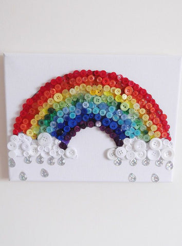 Button Canvas Kit with Template, butterfly, letter, rainbow, heart, tree, buttons, adult, child