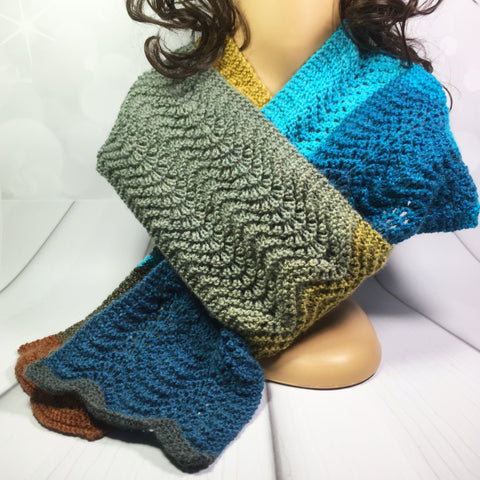 Beautiful Aqua Striped long hand knitted scarf, blues and greens, Knitted - Sparkly Pretty Things
