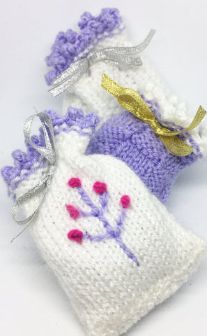 Hand knitted lavender bags, floral, granny, Mother's Day, homeware, fragrant, Knitted - Sparkly Pretty Things