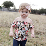 Black Vintage Floral Off Shoulder Top & Shorties