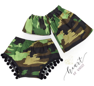Camo Off Shoulder Top & Shorties