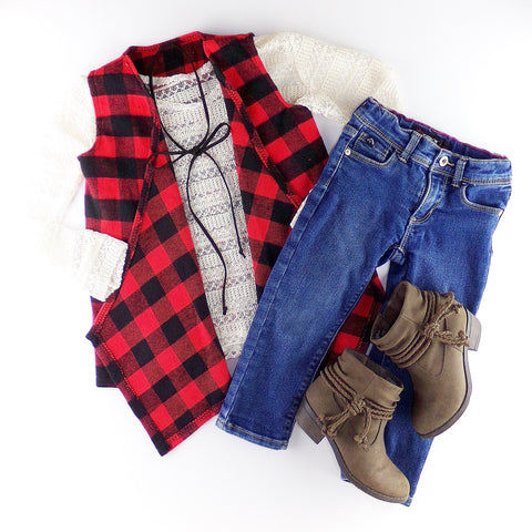 Buffalo Plaid Sleeveless Cardigan