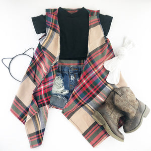 Fall Plaid Sleeveless Cardigan