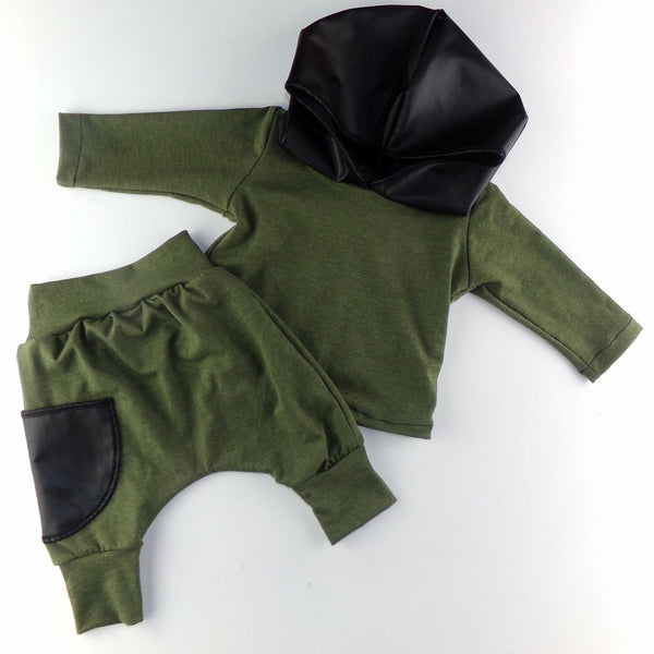 Olive & Leather Hoodie Set/Separates