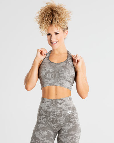 Camo Seamless Sports Bra | Green