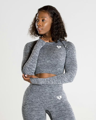 Move Seamless Long Sleeve Crop Top | Grey Marl