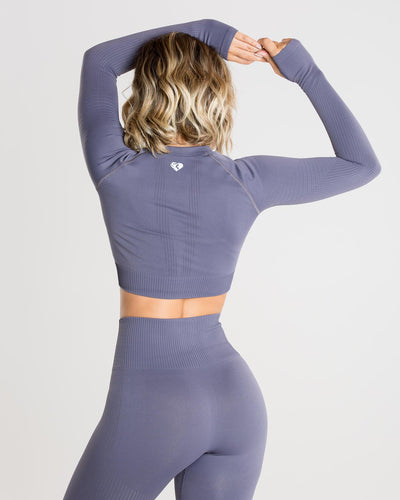 Power Seamless Long Sleeve Crop Top | Charcoal