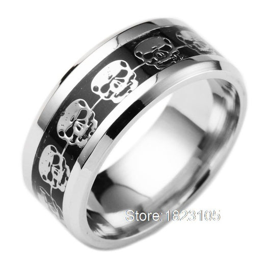 Never Fade Stainless Steel Skull Ring Gold Filled Blue Black Skeleton Pattern Man Biker Rings for Men Gift Fashion Mens Jewelry