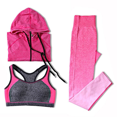 B.BANG Women Sport Yoga Sets for Running Gym Sportswear Sports Top Gym Push Up Bras Running Jacket Ladays Yoga Pants+Bra+Jacket