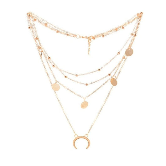 2017 Gold Chain Multi layer Moon Choker Necklace For Women Beads Coin Chocker Pendant Necklaces Collares Mujer collier femme