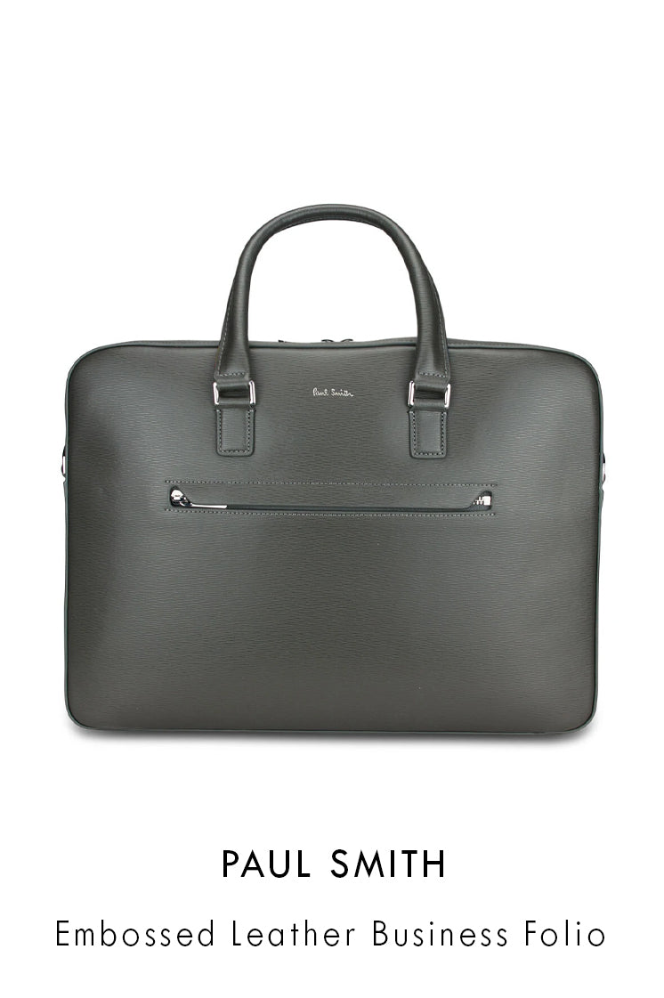 Paul Smith grey grained leather business bag