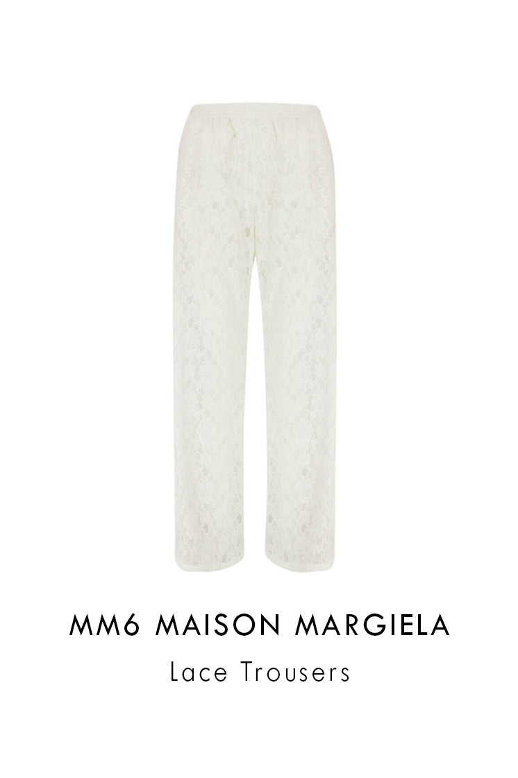 mm6 Maison Margiela off white lace trousers