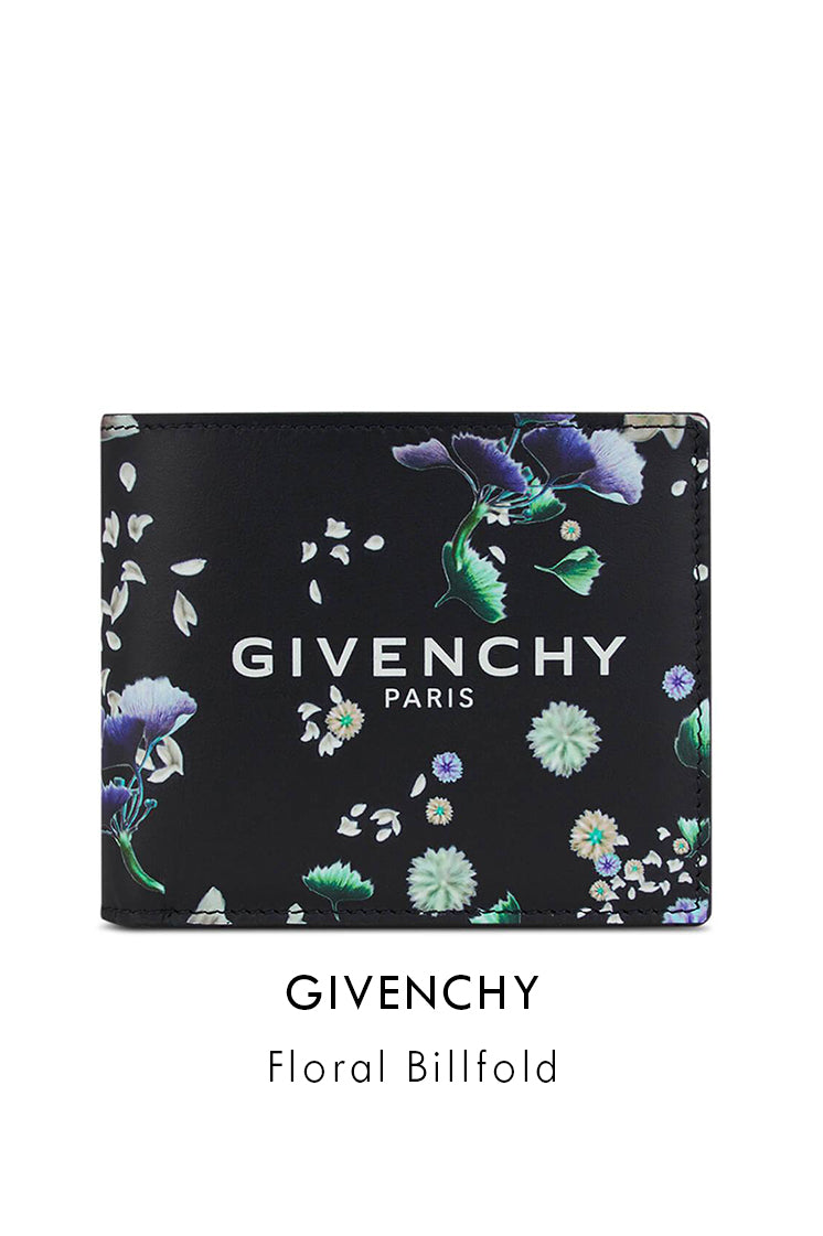 Givenchy Black Leather Floral Billfold Wallet
