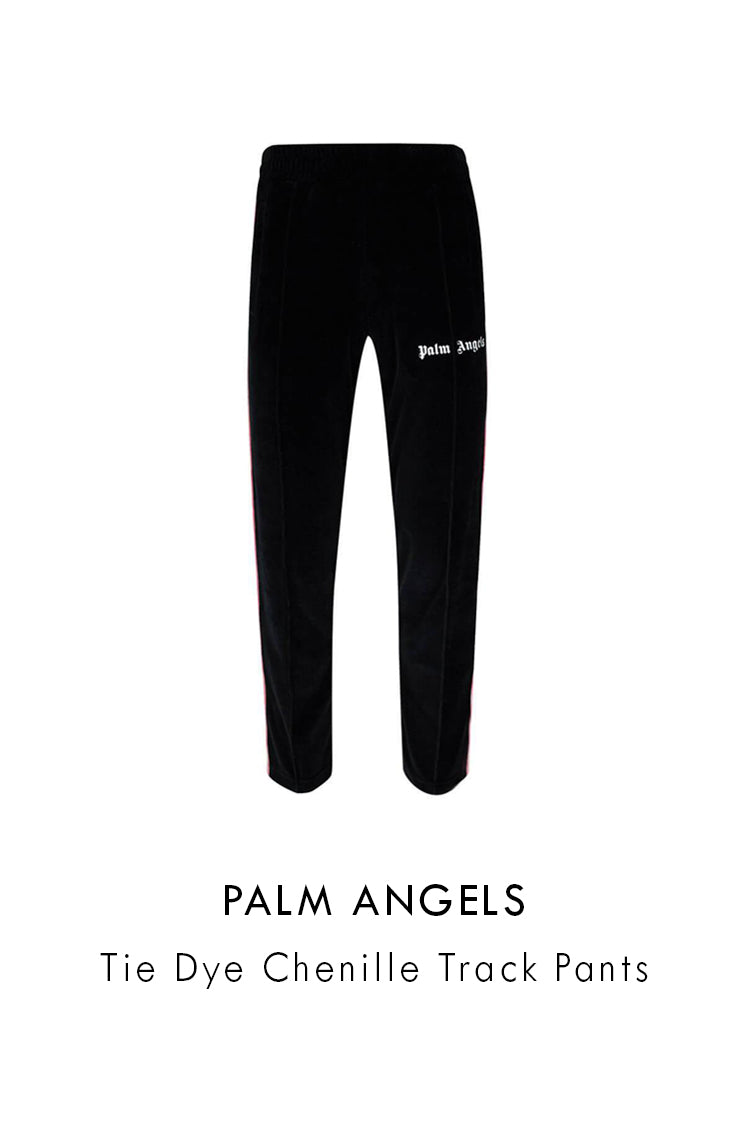 Palm Angels black multicolour tie dye chenille track pants