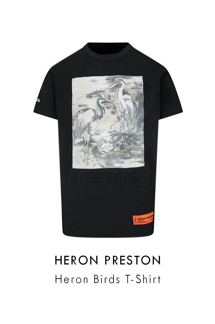 Heron Preston Black Cotton Heron Birds T-Shirt