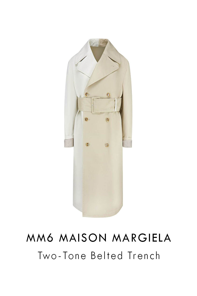 mm6 Maison Margiela beige cotton trench coat two tone