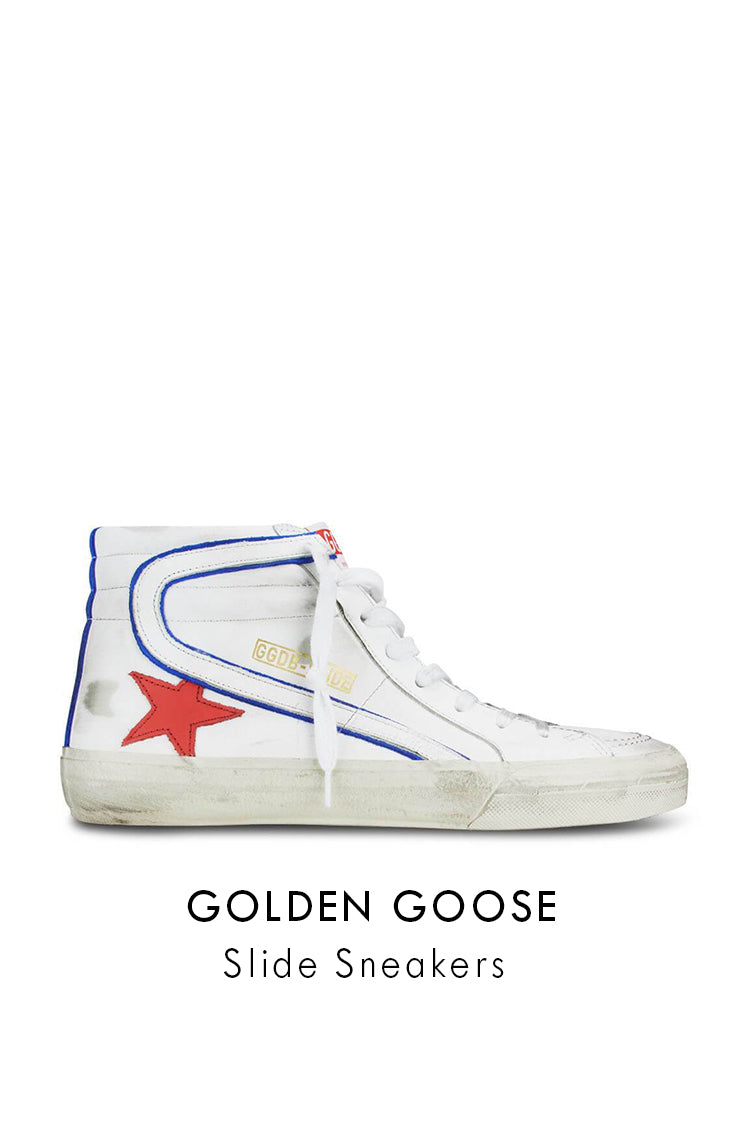Golden Goose White Leather Cherry Star Slide Sneakers