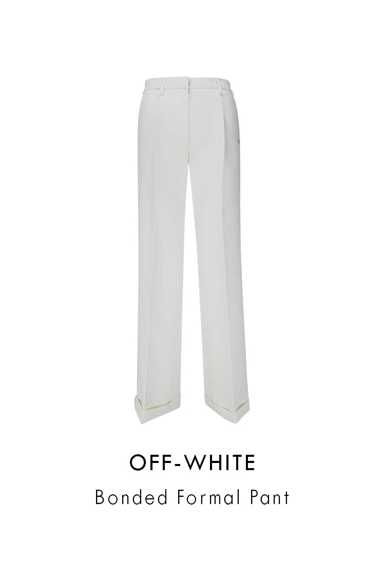 Off-White White Polyester Bonded Formal Pant