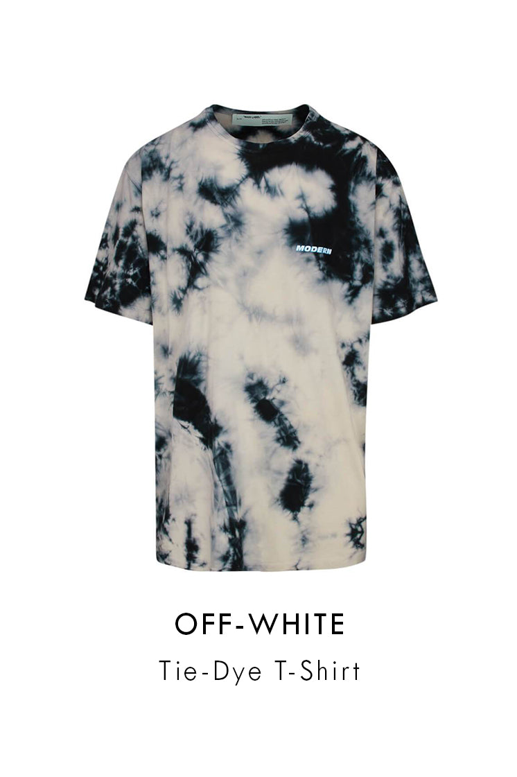 Off-White Oversized Beige Cotton Tie-Dye T-Shirt