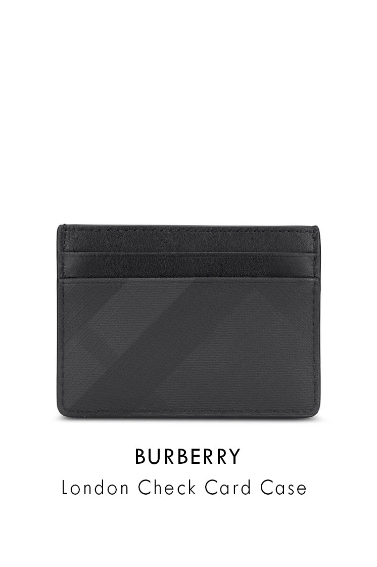 Burberry dark charcoal check print faux leather card case